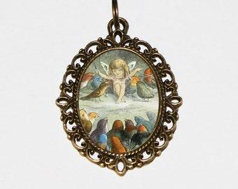 Bird Fairy Necklace, Fairies, Birds, Cute, Whimsical Jewelry, Bronze Oval Pendant