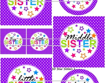 "DIY Printable ""Star Sisters 1"" Shrinkable Digital Images (JPEG File)"