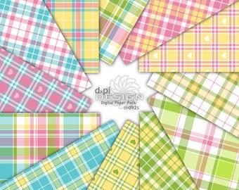 SUMMER PLAID - Digital Paper & Bright Preppy Backgrounds - Digital Printable Scrapbook Paper and Tartan Designs - Instant Download (DP092S)