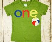 Pool party beach themed beach ball shirt Nautical Theme Birthday Shirt Tee on Organic blend birthday shirt customize first birthday etc