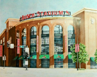 Busch Stadium Baseball Sports Original Art Drawing Free Shipping