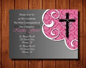 Kaylee Baptism First Communion Christening Baby Dedication Invitation Digital File or Add Prints Front and Back