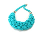 SALE - Turquoise Rope Knot Statement Necklace
