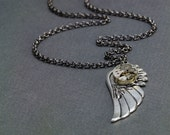 Wing your time mens  Necklace(handmade,unique,steampunk,everyday)by ISLA bijoux France
