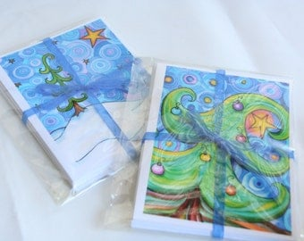 Holiday Note Card Set, Original Art Prints, Christmas Cards, Stocking Stuffer, Christmas Stationary Set, Teacher Gift