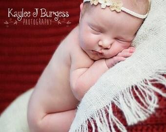 Newborn Tie Back, Sweetest Little Burlap Flower Tie Back Headband, Baby to Child Size, Newborn Photography Prop, Baby Headband