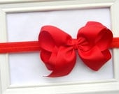 Red Bow Headband - Red Boutique Bow - Red Hair Bow