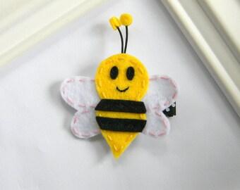 Bumble Bee Hair Clip - Felt Bee Clippie