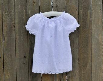 Girls White Eyelet Peasant Shirt, top, blouse..Rustic Wedding, Ivory Eyelet...Eco-friendly...12m,18m,2t,3t,4t,5,6,7,8, 10