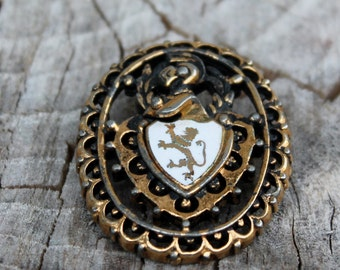 Vintage Knight and Sheild Brooch