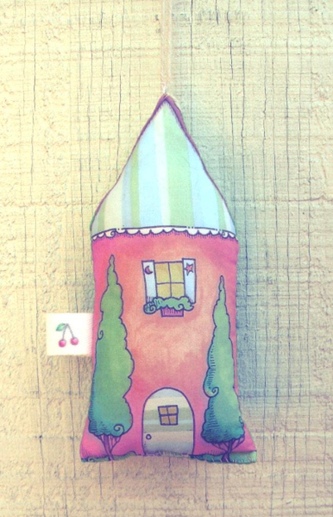 Stuffed house ornament // cute cottage stuffy // fabric house