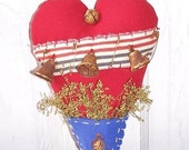 Primitive Heart Shaped Patriotic Americana Hanging Heart Sweet Annie Decor Prims*Gone*Wild Keb14-3