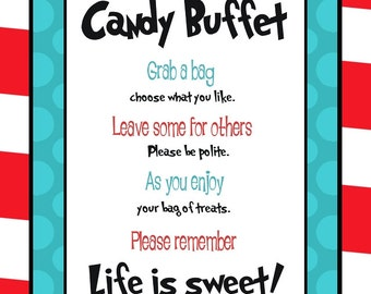 Dr. Seuss inspired Candy Buffet Sign