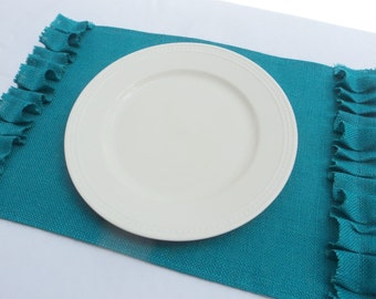 Set of 4 Burlap Placemats Many Colors to Choose From Place mats with Ruffles