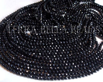 "Full 13"" strand black SPINEL faceted ROUND gem stone rondelle beads 3.5mm - 4mm"