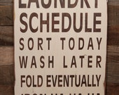 Large Wood Sign - Laundry Schedule - Subway Sign