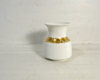 Vintage Rosenthal Studio Linie White Porcelain Vase // Tapio Wirkkala White and Gold Small Vase