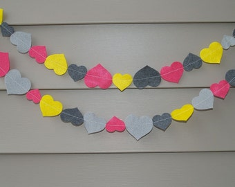 SALE Heart Felt Garland with Grey, Yellow, Fuchsia