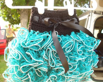 6-12 month ruffle tutu skirt in black and teal green with silver sparkle edge and black ribbon