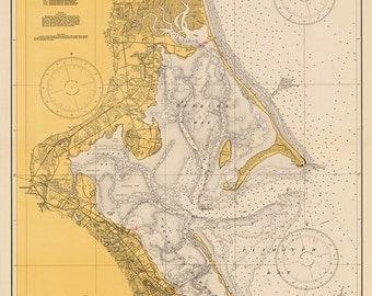 1939 Nautical Chart of Plymouth Harbor