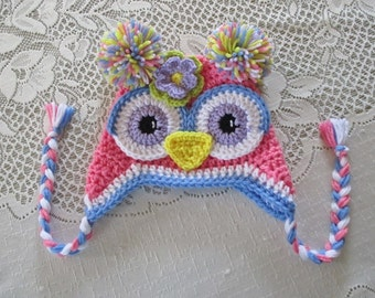 Medium Pink and Periwinkle Blue Crochet Owl Hat - Photo Prop - Available in Any Size or Color Combination