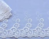 White Curly Swirls Lace Trim, Bridal Lace, Embroidered Modern Wedding Trim, Bridal Lace Trim