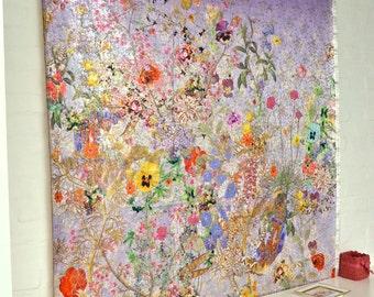 Textile Art Wall Decor, Floral Art Wall Hanging, Industrial Art, Flower Power, Executive Space Decor