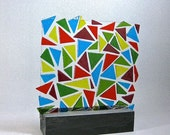 Art Glass Triangle Puzzle Pieces Abstract Sculpture Artist Signed