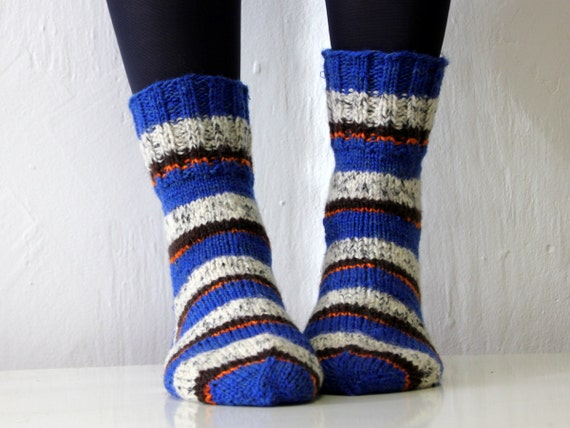 Size US woman 6.5 or boys 5, EU 37, Lovely hand knitted Wool socks