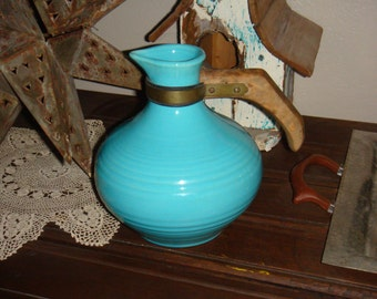 Vintage Turquoise Bauer Monterey Coffee Water Server Carafe Pitcher