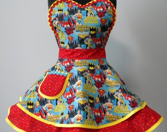 Womens Apron-Wonder Woman Girl Power in Blue Flounce Apron