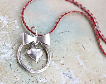Heart and Bow Necklace in Silver and Red - Vintage Jewelry