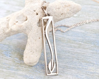 Renee Mackintosh Tulip Necklace - Sterling Silver Pendant on Chain - Art Nouveau