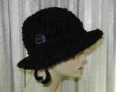 Woman's Crocheted Fashion Hat w/ Adjustable Drawstring and Flower Embellishment