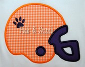 Tiger Print Football Helmet Applique Design Machine Embroidery INSTANT DOWNLOAD