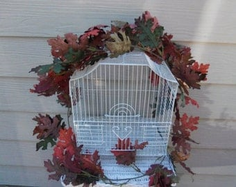 Vintage Metal Wire Bird Cage White Farmhouse Country Cottage Decor