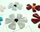 Glass Flowers For Mosaics, Jewelry, Magnets or other Embellishments 6 Flowers  (P235)