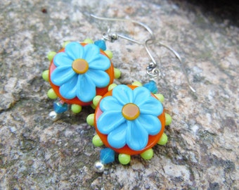 Lampwork Flower Earrings Orange Blue Green Summer