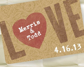 Custom Save the Date Invitations - Wedding Invitations - Personalized Tooled Leather Design - 100 Postcards