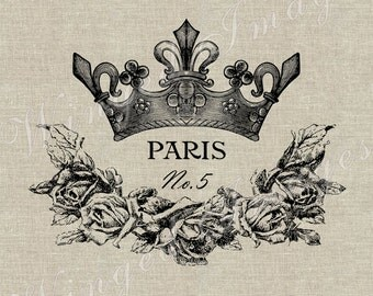 Paris Crown and Rose Wreath Instant Download Digital Image No.61 Iron-On Transfer to Fabric (burlap, linen) Paper Prints (cards, tags)
