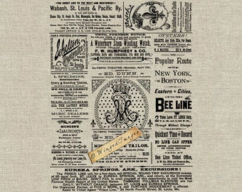 Antique Newspaper Ad Page Instant Download Digital Image No.246 Iron-On Transfer to Fabric (burlap, linen) Paper Prints (cards, tags)