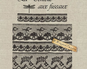 Bobbin Lace  Instant Download Digital Image No.92 Iron-On Transfer to Fabric (burlap, linen) Paper Prints (cards, tags)
