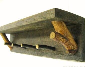"RUSTIC WALL SHELF 24"" W/4 twig peg hooks - Coat Rack, Hat Rack, Key Rack, Jewelry Organizer, Shelf, Key Holder, Rustic, Mountain, Farmhouse"