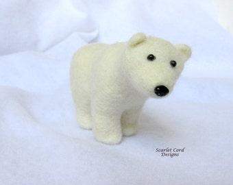 Felted Animal Bear Soft Sculpture - Polar Bear Needle Felted Fiber Art