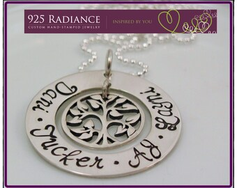 Sterling Silver Hand Stamped Necklace with Tree of life Charm- FAMILY TREE