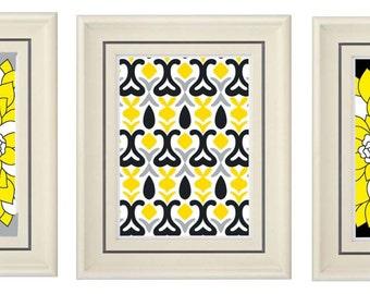 Set of Three Modern Yellow/Gray Art Print (Unframed)