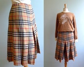 90s Burberrys wool culotte pants plaid  pleated Burberrys checkered S