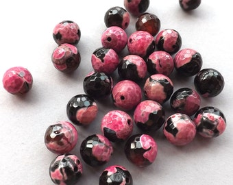 10pcs-12mm faceted pink/black Crab Agate gemstone round beads