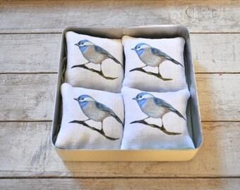 Four lavender cushions France. Print original blue chickadee. Vintage metal box.