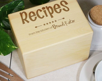 Engraved Kitchen Recipe Box, wooden, gift for mom, kitchen, decor, engraved recipe box -gfy8538173